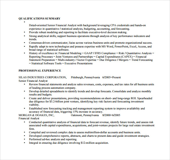 professional profile resume financial analyst objective junior dayjob resume cover letter format best cover letter call - Sample Of Resume