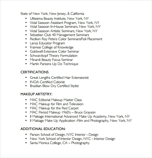 hair stylist resume format