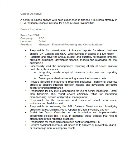 sample financial analyst resume 11 documents in pdf word
