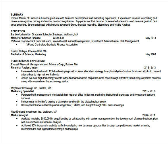 Sample Financial Analyst Resume - 11 + Documents in PDF, Word