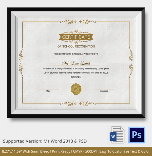 sample certificate of recognition template 21 documents in pdf word psd. Black Bedroom Furniture Sets. Home Design Ideas