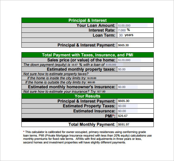 mortgage payment calculator sample