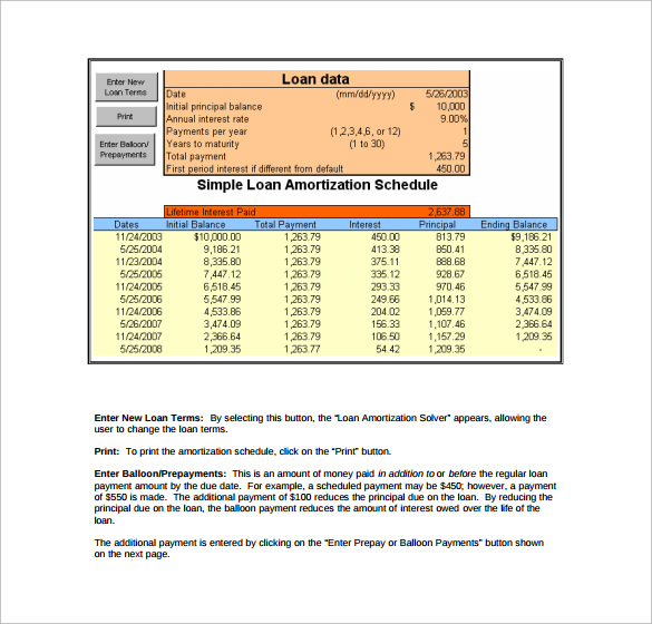 9 loan amortization calculator templates to download sample templates