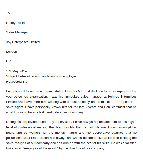 professional letter of recommendation for employer