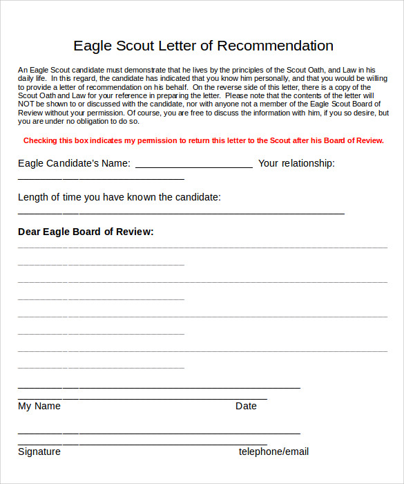 eagle scout letter of recommendation word
