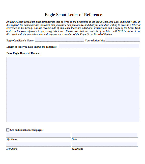 Sample Eagle Scout Letter Of Recommendation   Download Documents