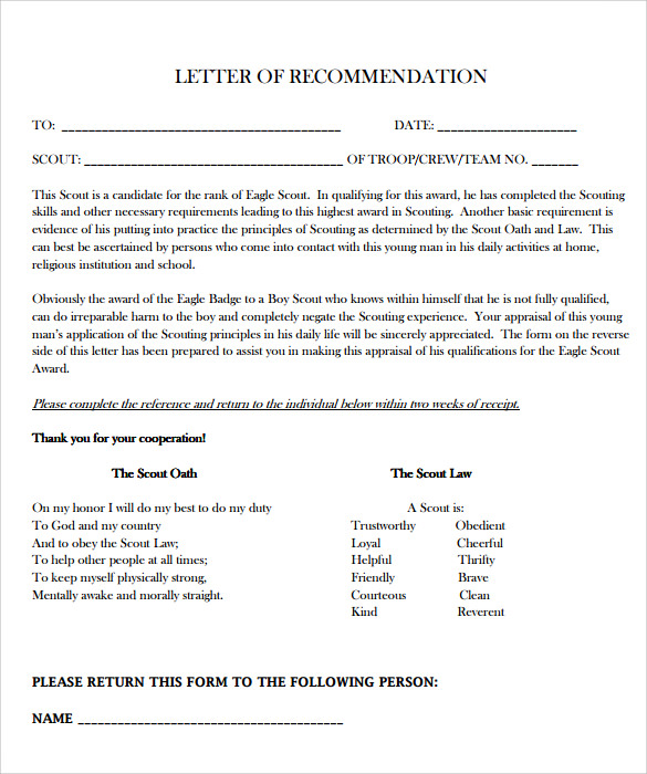 Sample Eagle Scout Letter Of Recommendation   Download