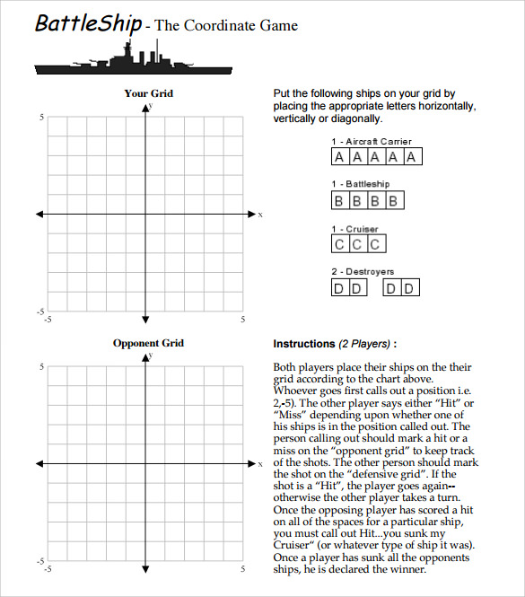 This is an image of Battleship Game Printable within board
