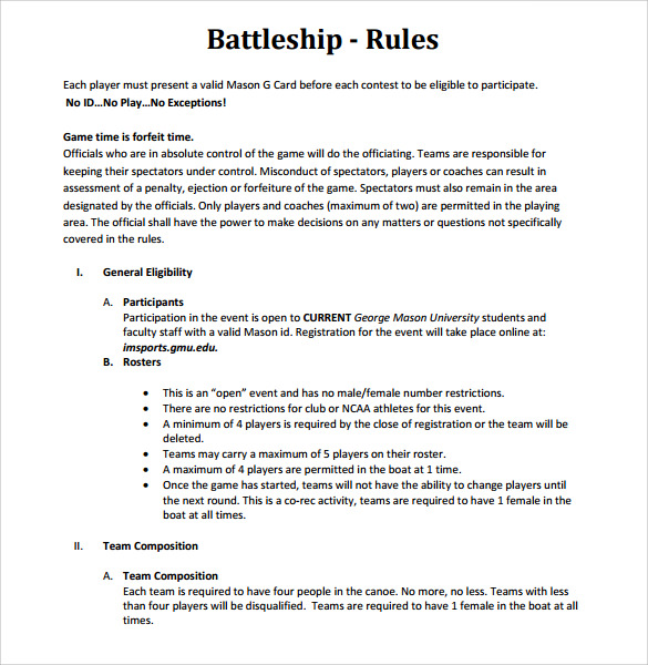 Battleship Game Sample   Documents In Word Pdf Excel Ppt