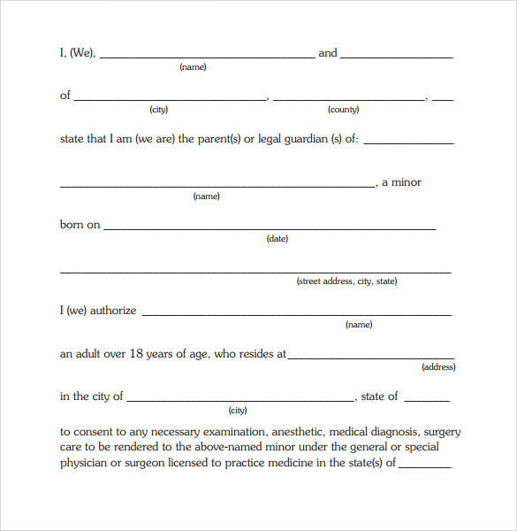 Child Medical Consent Form   Free SamplesExamples  Formats