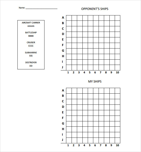 battleship grid template