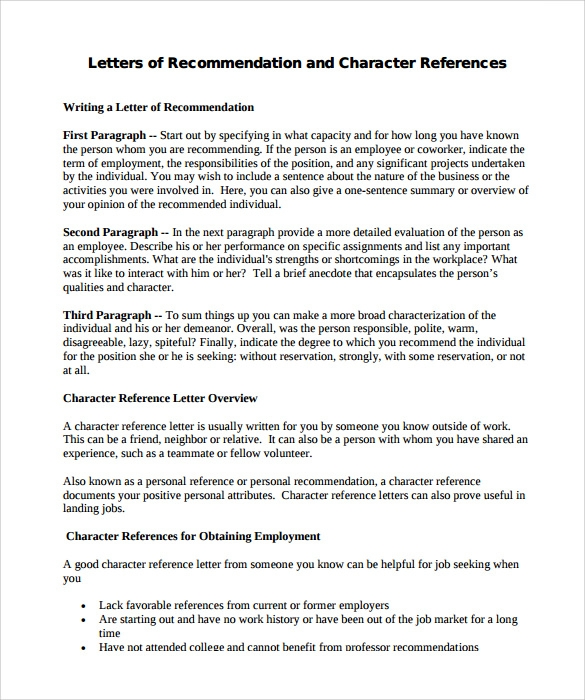 Beautiful Character Letter Of Recommendation Format
