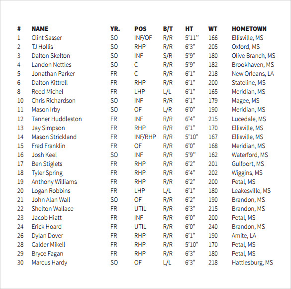 Sample Baseball Roster 6 Documents in PDF – Football Roster Template