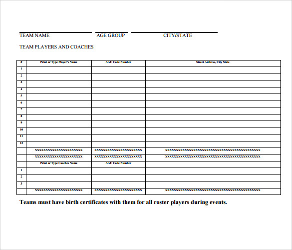 Sample Baseball Roster   Documents In Pdf