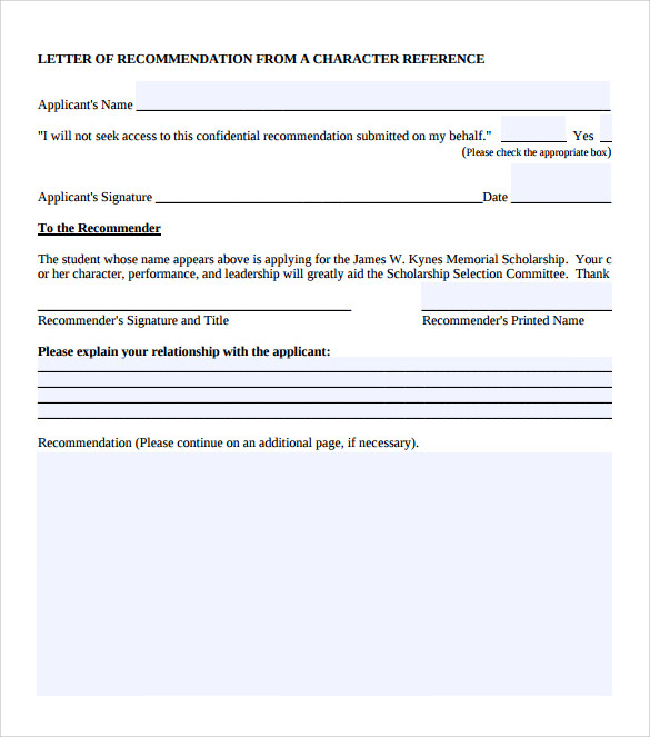 Character Letter Of Recommendation   8  Download Documents In PDF Q0eTDkIm