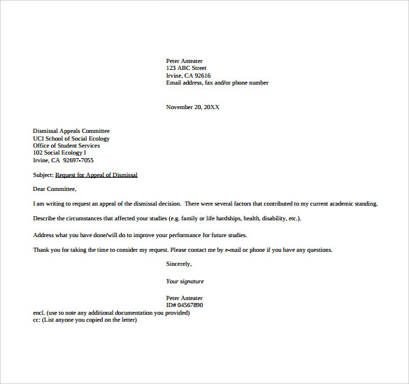 sample appeal letter format