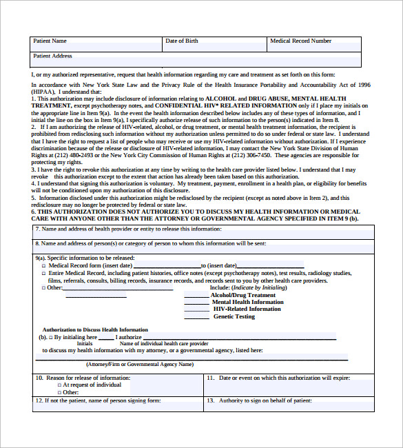 generic medical record release form
