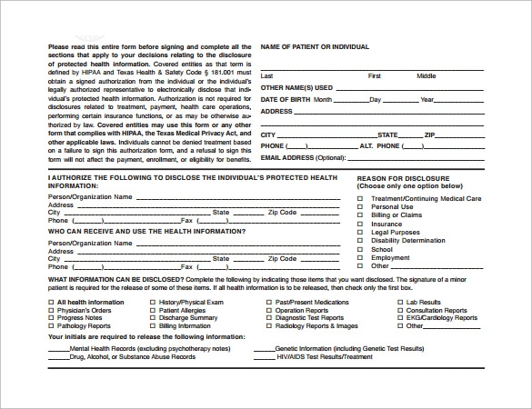 disclose protected information form