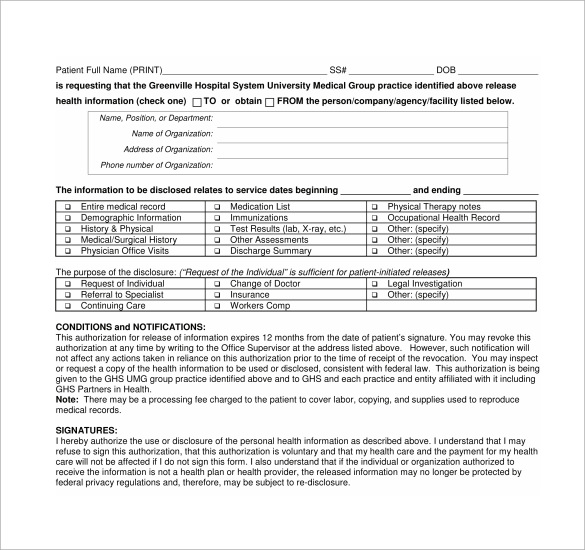 Generic Medical Record Release Form - 10+ Free Samples , Examples