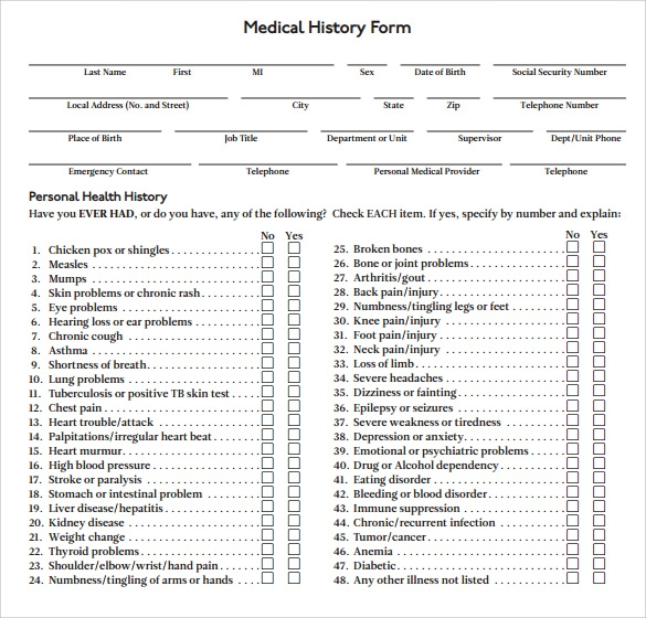 Medical History Forms  Free Sample Example Format