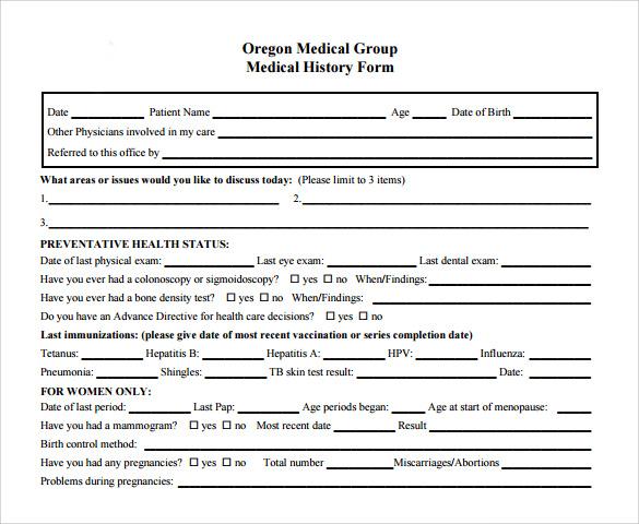 oregon medical group medical history form