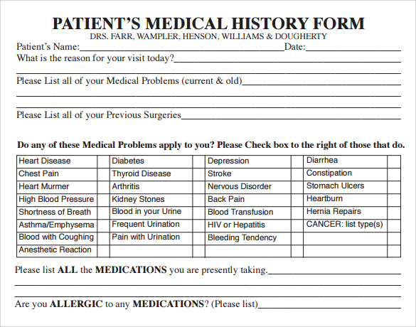patients medical history form