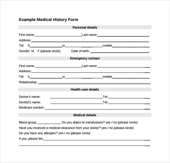 free 14  medical history forms in pdf