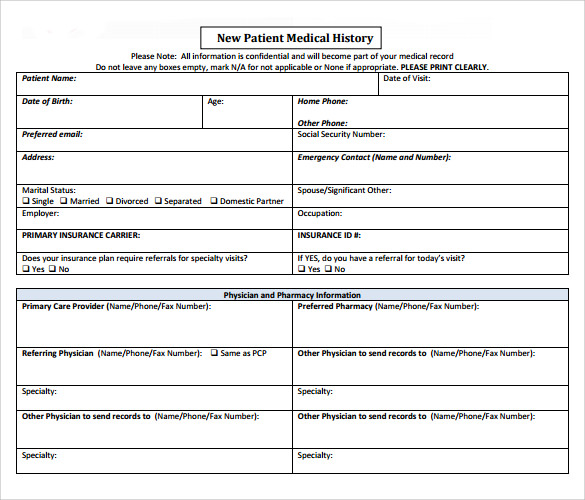 new patient medical history form