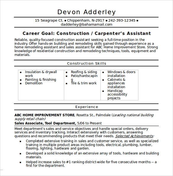 12 Construction Resume Templates Samples Examples