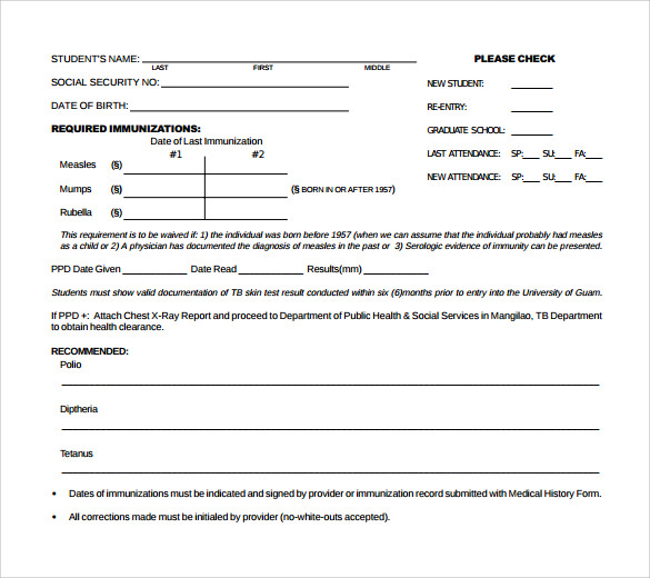 report of medical history form