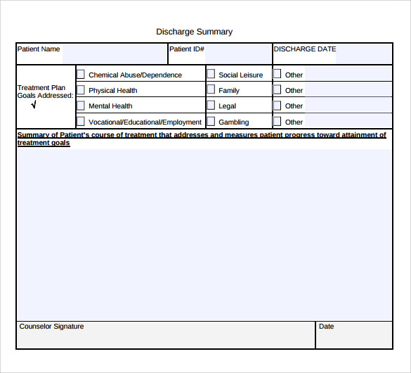 discharge summary template