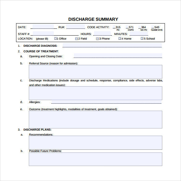 Sample Discharge Summary   Documents In Pdf Word