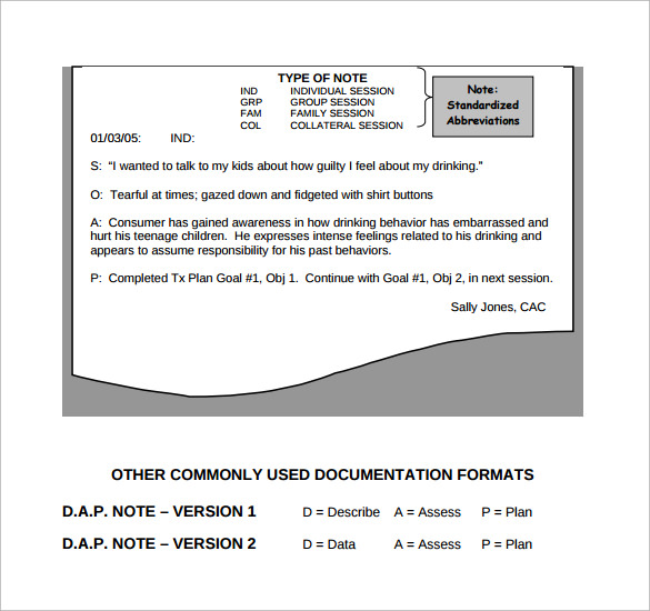 example soap note