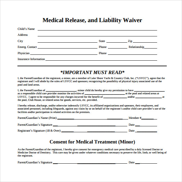 Medical Waiver Forms  Free Sample Example Format