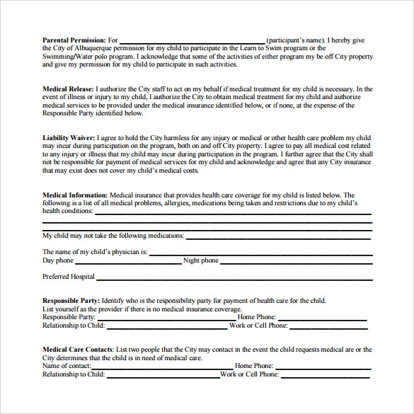 Medical Waiver Form | 11 Sample Medical Waiver Forms Sample Templates