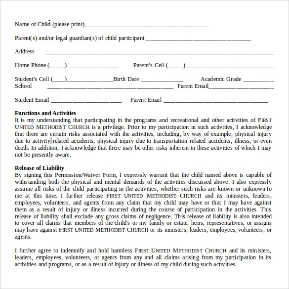 Participation Waiver Template Waiver Form  Free Templates In Pdf
