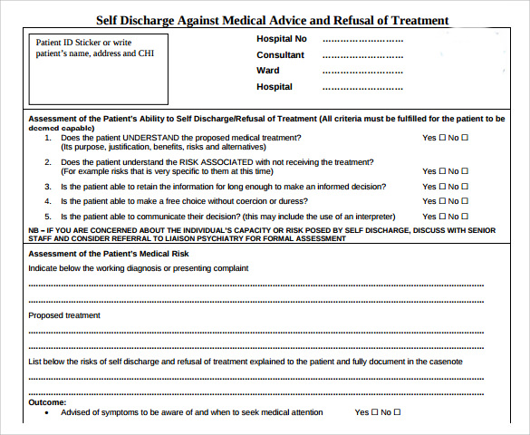 9 against medical advice forms samples examples format self discharge against medical advice form altavistaventures