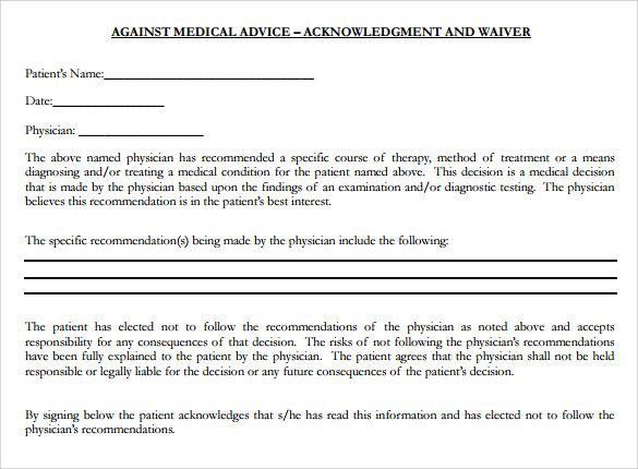 sample against medical advice form%ef%bb%bf
