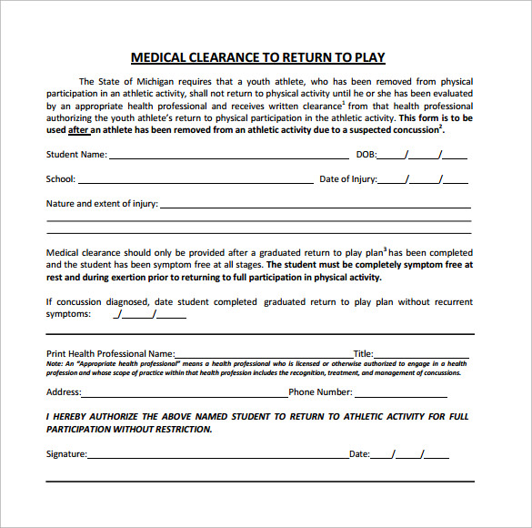 Medical clearance form 12 free samples examples format medical clearance form to return to play pronofoot35fo Images