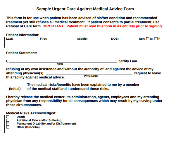 Against Medical Advice Form 8 Samples Examples Format – Sample Against Medical Advice Form