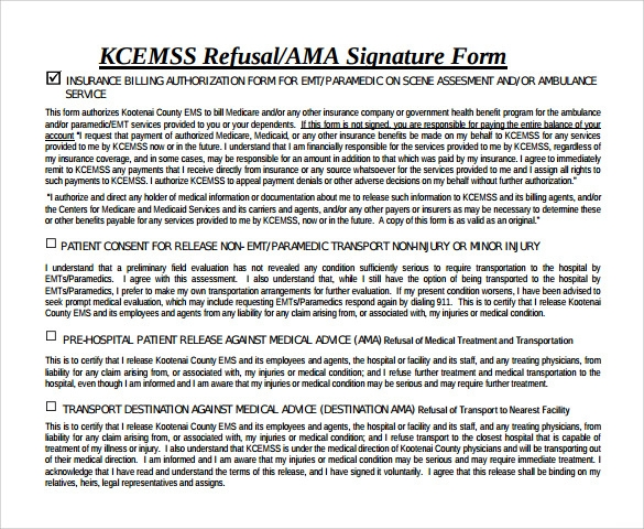 Against Medical Advice Form Samples Examples Format