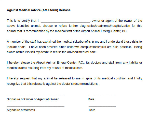 against medical advice ama form release