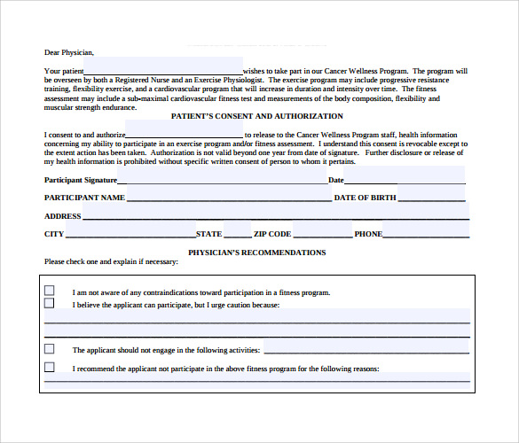 Medical Clearance Form   Free Samples  Examples  Format