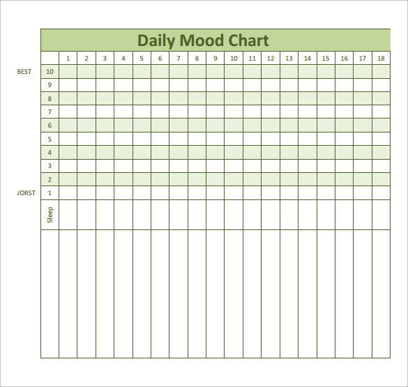 Printable Chart Template Printable Mood Chart Sample Mood Chart