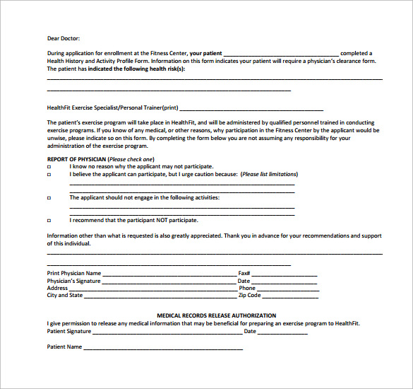 medical clearance form sample
