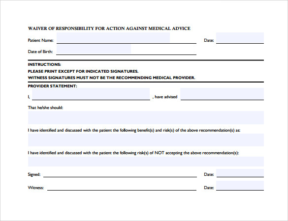 responsibility against medical advice form1