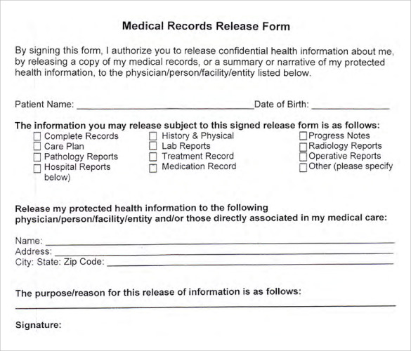 medical records release form 10 free samples examples format