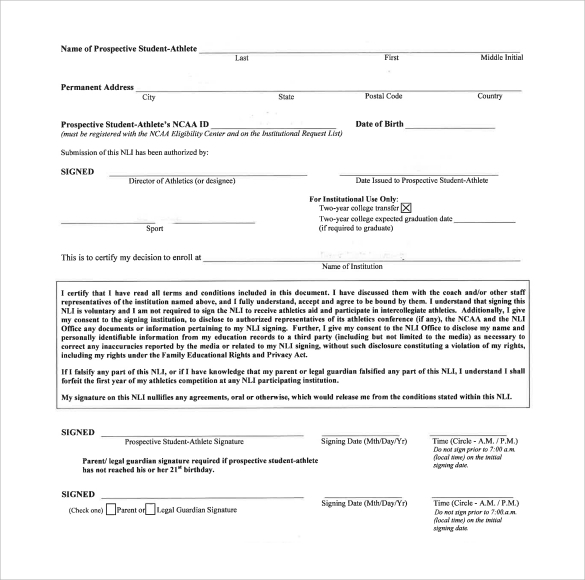 Ncaa Letter Of Intent Release Form  Docoments Ojazlink