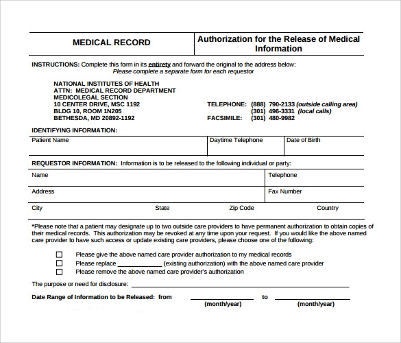 general medical records release form sample Template – Medical Record Form Template
