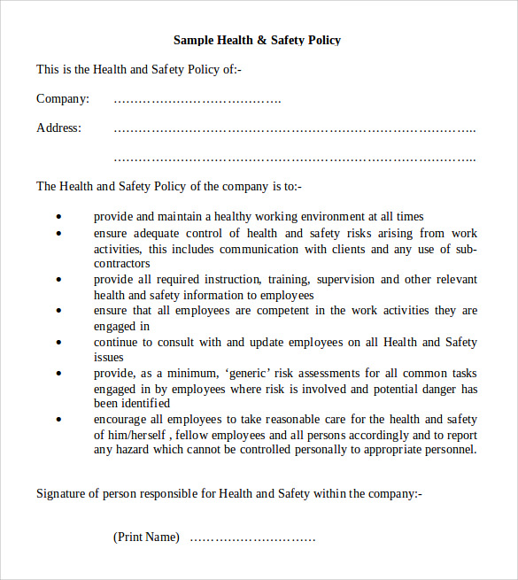 11 Health and Safety Policy Templates Free Sample Example Format – Sample Health and Safety Policy